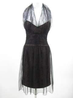 BADGLEY MISCHKA Black Halter Embellish Cocktail Dress 8