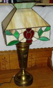 Caramel Slag Stained Glass Table Lamp Brass Base Arrow