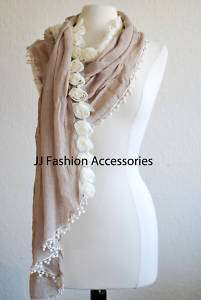 Sparkling Roses Crochet Trim Woven Scarf Wrap   4 Color