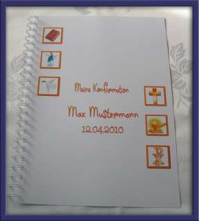 Festzeitung Konfirmation Design Symbole 5Farben #orange