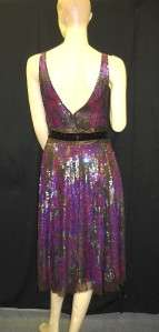 NWT TRACY REESE Silk Purple Brown Sequin Dress 8 $700