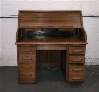 Superb antique roll top s type oak desk
