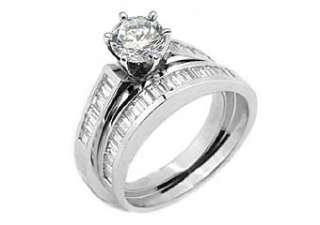 WOMENS DIAMOND ENGAGEMENT RING WEDDING BAND BRIDAL SET ROUND BAGUETTE