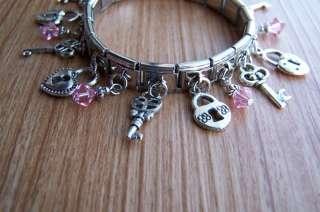 Lock & Key Charm Bracelet With Swarovski Crystals