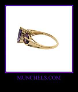 10K Y GOLD DIAMOND AMETHYST RING   FEBRUARY BIRTHSTONE