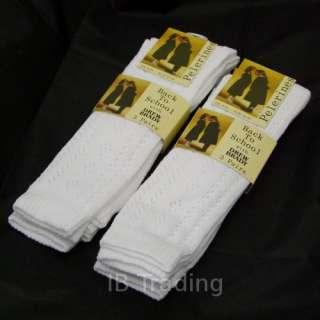 WHITE Girls Pelerine Knee High Socks BACK TO SCHOOL