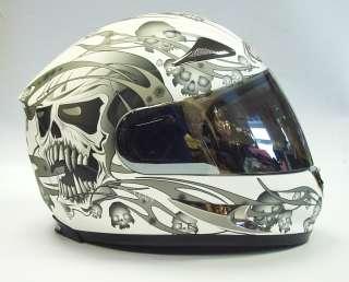VIPER RS 44 SKULL MOTORCYCLE MOTORBIKE HELMET WHITE LG