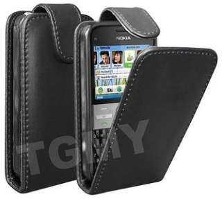 BLACK LEATHER FLIP CASE & SCREEN PROTECTOR FOR NOKIA E5