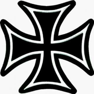 Large Black & White Iron Cross   8 3/8 x 8 3/8