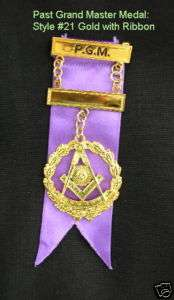 Gold #21 Past Grand Master Breast Medal Jewel Masonic