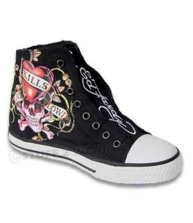 ED HARDY Midtown DEH Trainers Mens Womens Hi Shoes Boots Black UK
