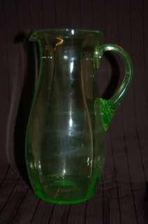 VINTAGE VASELINE URANIUM GLASS PITCHER JUG c1900