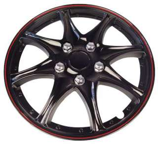 Car Wheel Trims x 4 Black/Red 14 Inch Booster