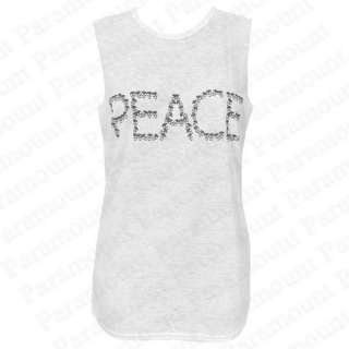 Peace Skull Heart Printed Design Sleeveless T Shirt Vest Top Tees