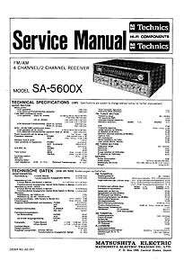 Technics SA 5600X Quadraphonic Receiver Service Manual (Quad)