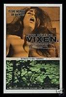 VIXEN ! * 1SH ORIGINAL MOVIE POSTER RUSS MEYER 1968