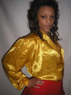 BREATHTAKING GOLDEN BLOUSE MADE FROM A LUSH, WET  LIQUID SATIN