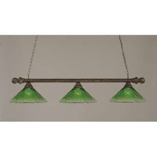 Round Bar Pendant with Round Ends and Kiwi Green Crystal Glass Shade
