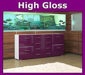 Buffet bahut commode meuble laqué glossy violet mauve blanc