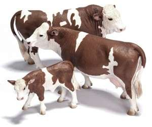 SCHLEICH Simmental Bull Cow Calf Set 13640 13641 13642