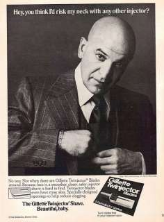 1976~TELLY SAVALAS~GILLETTE TWINJECTOR BLADES~Print Ad