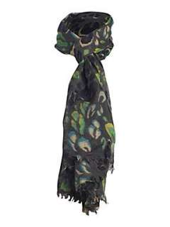 Wraps  Womens Scarves  Mary Portas Blue and green leopard scarf