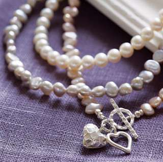 silver and pearl hearts necklace by kathy jobson jewellery