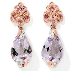 Victoria Wieck Pear Shaped Pink Amethyst Drop Earrings