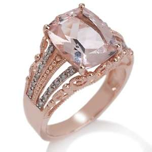 50ct Morganite and Diamond 10K Rose Gold Ring