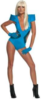 Lady Gaga Poker Face Blue Swimsuit Costume for Adults