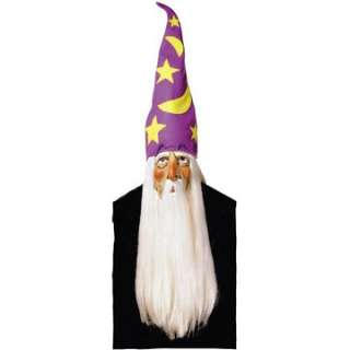Adult Wizard Mask with Hair and Hat   Wizard Costume Masks
