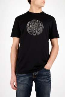 Pretty Green  Black Paisley Logo T Shirt by Pretty Green