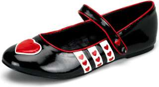 Queen of Hearts (Black) Patent Flat Adult Shoes   Includes Pair of