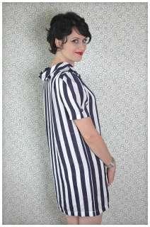 BOLD Navy Striped SHIFT Vintage Maternity Tent MOD Retro Party DRESS