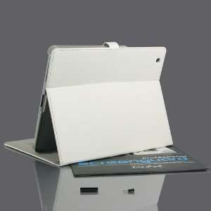 ZuGadgets White Leather Folio / Flip Stand Case Cover for Apple