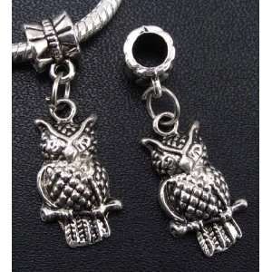 Silver Owl Dangle Charm Bead for Bracelet or Necklace