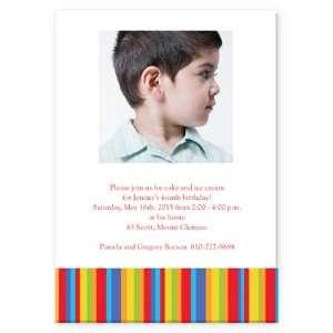 Striped Birthday Border Boy Birthday Invitation Health