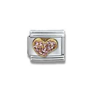 Gold CZ Heart Birthstone Heart Italian Charm Bracelet Link Jewelry