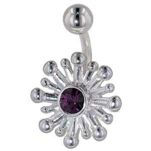 Crystal Bursting Flower Birthstones Belly Navel Ring Body Jewelry