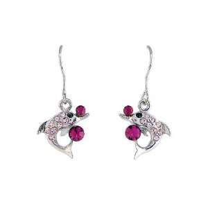 Gift   High Quality Lovely Dolphin Earrings with Purple and Black