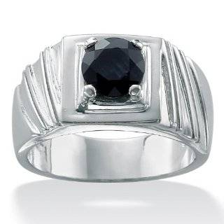 PalmBeach Jewelry Mens Midnight Blue Sapphire Sterling Silver Ring