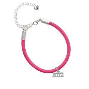 Silver 2012 Year Charm on a Hot Pink Malibu Charm Bracelet Jewelry