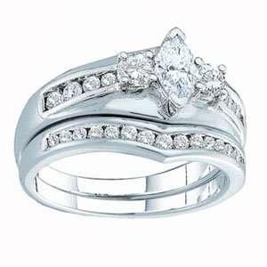 Carat Marquise Round Diamond 14k White Gold Bridal Set Ring Jewelry