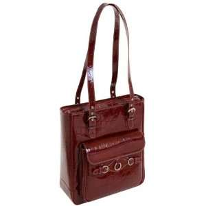 (Red) Leather Vertical Ladies Laptop Tote Siamod Womens Briefcases