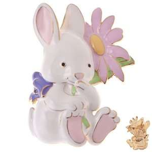Jewelry Sweet Bunny with Flower Charm Brooch Pin White Pink Jewelry