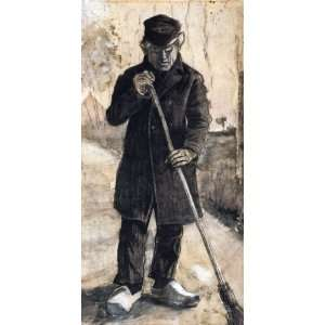 Oil Painting A Man with a Broom Vincent van Gogh Hand