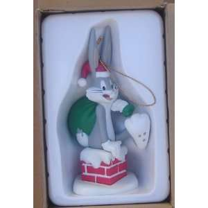 Bugs Bunny Looney Tunes Hard Plastic Christmas Ornament From 1990 91