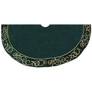Gold Embroidered Green Colored Christmas Tree Skirt