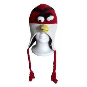 Angry Birds Red Costume Hand Knitted Aviator Beanie Hat with Fleece