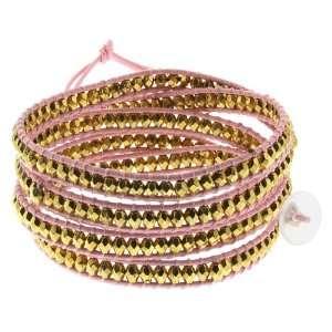 36 Cross Cut Golden Beads On Pink Leather Wrap Bracelet